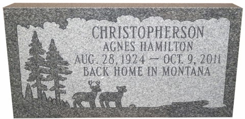 "Gray Marker, GMP7 Design, Condensed Roman Font, ""Back Home In Montana"""