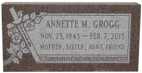 Pink Granite, GMP30 Design, Condensed Roman Font, Annette - Mother, Sister,Aunt, Friend