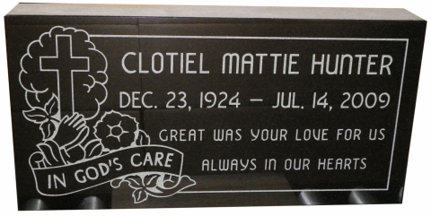 "Black Marker: GMP26 Design, Vermarco Font, Option 1 Engraving, Clotiel - ""Great Was Your Love For Us""."