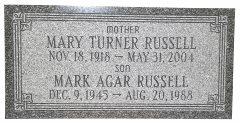 Gray Granite, GMP 11 Border, Condensed Roman Font, Mother & Son Memorial, Family Testimonial Noted In GSGM Customer Testimonial Page