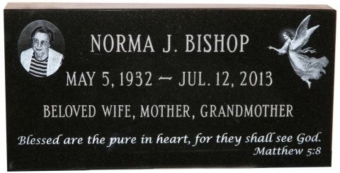 "Black Granite, Custom Etching, ""Blessed Are The Pure In Heart, For They Shall See God""."