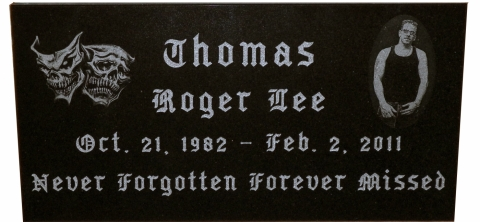 """Never Forgotten, Forever Missed"", Custom Black Granite Etching, requested Old English Style font"