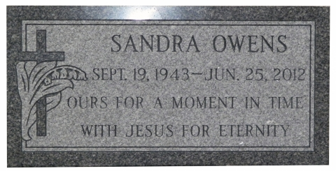 "Gray Granite, GMP15 Design, Modified Roman Font, Sandra Owens, ""Ours For A Moment In Time....."""
