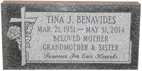"Gray Granite, Design GMP5, Condensed Roman Font, ""Beloved Mother, Grandmother & Sister"", See Family Comments in GSGM Testimonial Page"