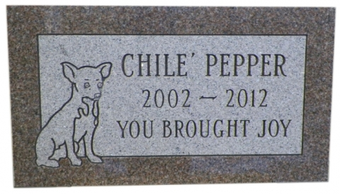 "Chile' Pepper - ""You Brought Joy"" in Little Rock, AR, Pink Granite, GMP12P Design, Condensed Roman Font"