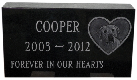 "Custom Etching OF Beloved Cooper, ""Forever In Our Hearts"", Resting In The Gardens Of Merrimack, NH"