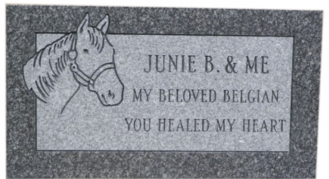 """Junie B. & Me"" My Beloved Belgian, You Healed My Heart: Gray Granite, GMP22P, Condensed Roman Font"