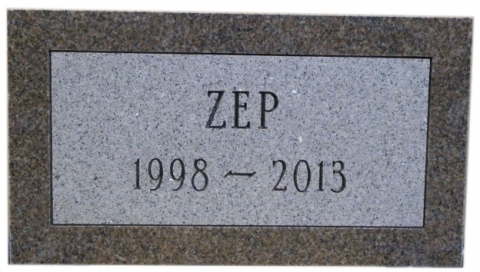 "Pink Granite, Condensed Roman Font, Custom Pet Marker for 'ZEP"", Altanta, GA"