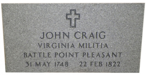 "Gray Marker, Veteran Stone, GMP2V, Government Font, ""Virginia Militia - Battle Point Pleasant"""