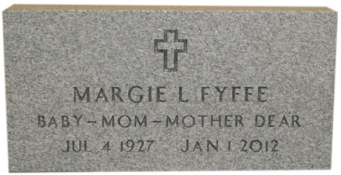 "Gray Granite, ""Steeled Finish"" (Margie L Fyffe, Baby - Mom - Mother Dear) Custom Marker to Match Another Family Members"